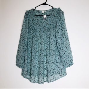 NWT🎉 GAP Floral Sheer Flowy Mint Green Blouse